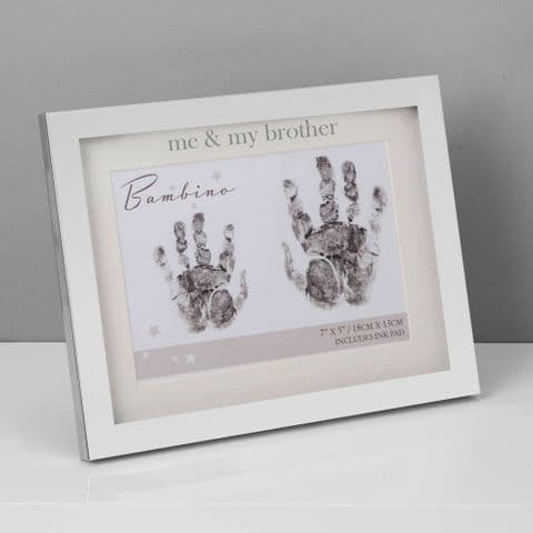 Bambino Silverplated Handprint Photo Frame 7 x 5 - Me & My Brother